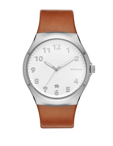 Skagen Analog Sundby Brown Leather Strap Watch-BROWN-One Size