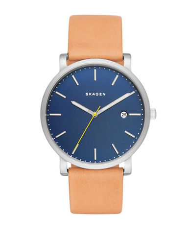 Skagen Analog Hagen Blue Dial Tan Leather Strap Watch-TAN-One Size