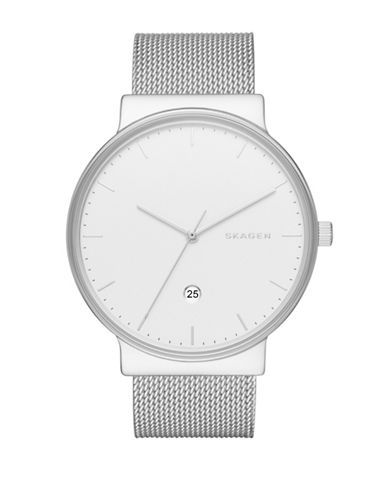 Skagen Analog Ancher Steel Mesh Watch-SILVER-One Size