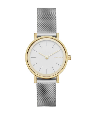 Skagen Analog Hald Dual-Tone Stainless Steel Mesh Bracelet Watch-SILVER-One Size