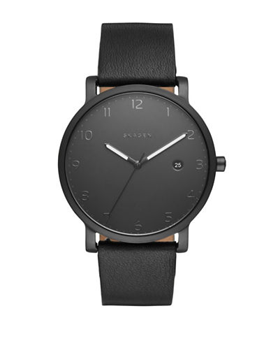 Skagen Analog Hagen Leather Watch-BLACK-One Size