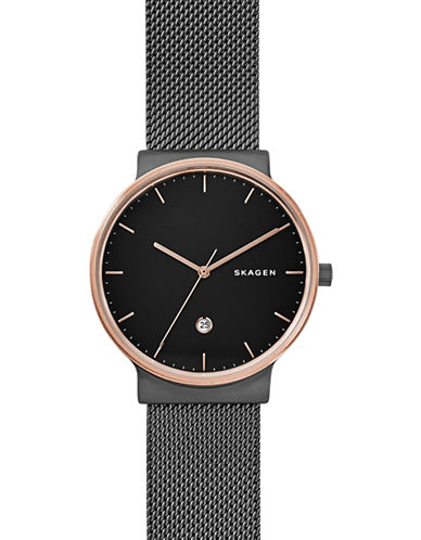 Skagen Analog Ancher Steel Mesh Watch-BLACK-One Size