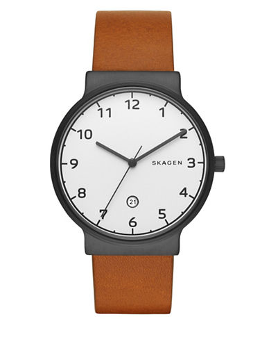 Skagen Analog Ancher Leather Watch-BROWN-One Size