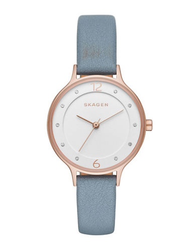 Skagen Anita Sandblast Dial Rose Goldtone and Blue Leather Watch-BLUE-One Size