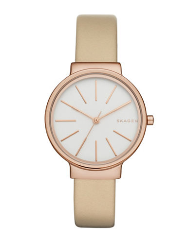 Skagen Rose Goldtone Leather-Strap Analog Watch-GOLD-One Size