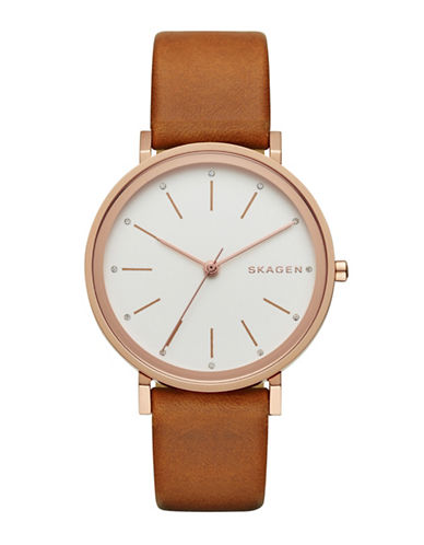 Skagen Sandblast Dial Rose Goldtone and Brown Leather Watch-BROWN-One Size