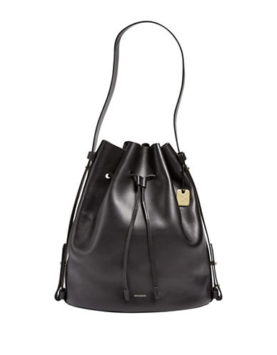 Skagen Mette Leather Bucket Bag-BLACK-One Size
