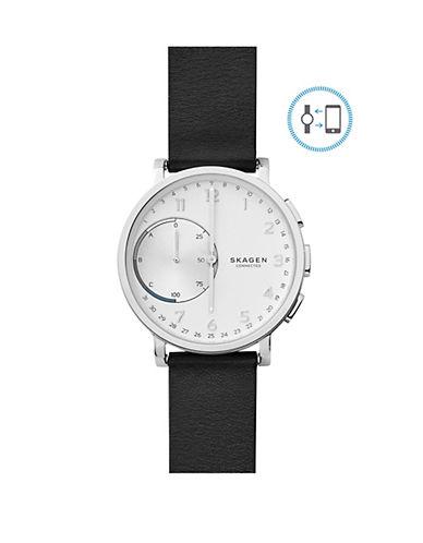 Skagen Hagen Connected Leather Hybrid Smart Watch-BLACK-One Size