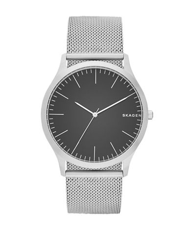Skagen Analog Jorn Leather Watch-SILVER-One Size