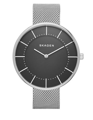Skagen Analog Gitte Stainless Steel Mesh Bracelet Watch-SILVER-One Size