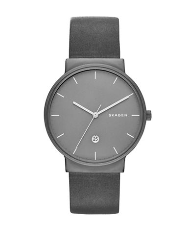 Skagen Analog Ancher Titanium Leather Watch-GREY-One Size