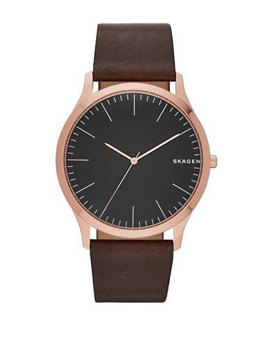 Skagen Analog Jorn Leather Watch-BROWN-One Size