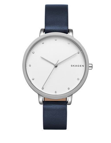 Skagen Analog Hagen Leather Watch-BLUE-One Size