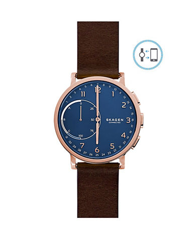Skagen Hagen Connected Leather Hybrid Smart Watch-BROWN-One Size