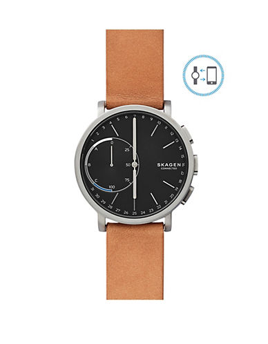 Skagen Hagen Connected Titanium and Leather Hybrid Smart Watch-BROWN-One Size