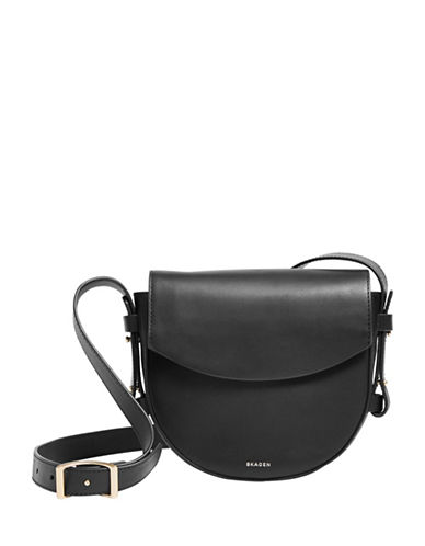 Skagen Lobelle Leather Saddle Bag-BLACK-One Size