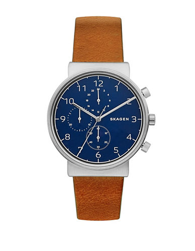 Skagen Chronograph Ancher Stainless Steel Leather Strap Watch-BROWN-One Size