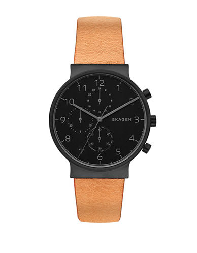 Skagen Chronograph Ancher Black IP Leather Strap Watch-BROWN-One Size