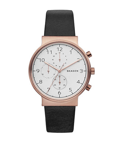Skagen Chronograph Ancher Rose-Goldtone Leather Strap Watch-BLACK-One Size