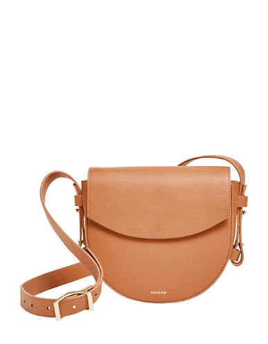 Skagen Lobelle Leather Saddle Bag-TAN-One Size