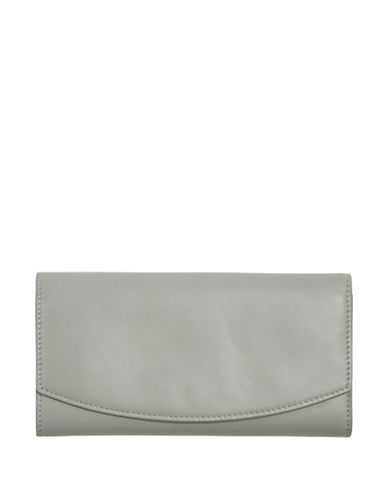 Skagen Continental Leather Flap Wallet-LIGHT ASH-One Size