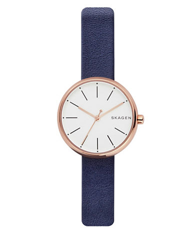 Skagen Analog Signature Rose-Goldtone Leather Strap Watch-BLUE-One Size