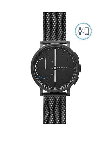 Skagen Unisex Hagen Connected Leather Smart Watch-BLACK-One Size