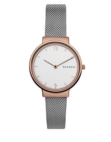 Skagen Analog Ancher Two-Tone Bracelet Watch-SILVER-One Size