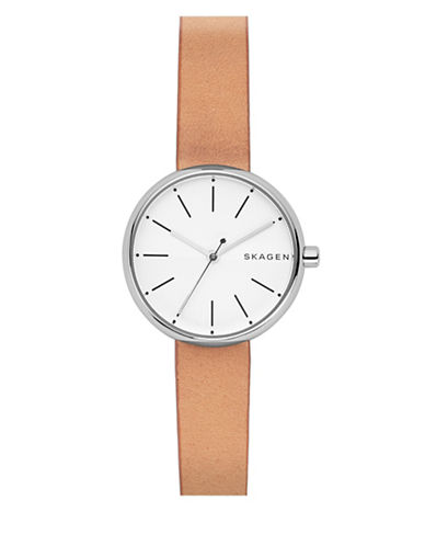 Skagen Analog Signature Stainless Steel Leather Strap Watch-BROWN-One Size