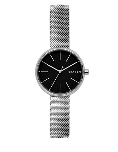 Skagen Analog Signature Stainless Steel Mesh Bracelet Watch-SILVER-One Size
