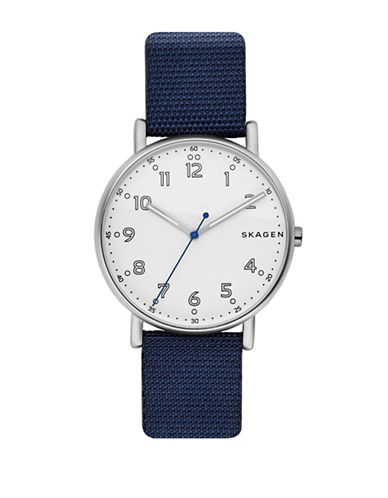 Skagen Analog Signature Dot Stainless Steel Nylon Strap Watch-BLUE-One Size