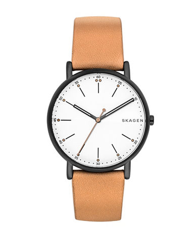 Skagen Analog Signature Dot Stainless Steel Leather Strap Watch-BROWN-One Size