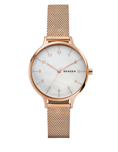 Skagen Anita Analog Strap Watch-ROSE GOLD-One Size