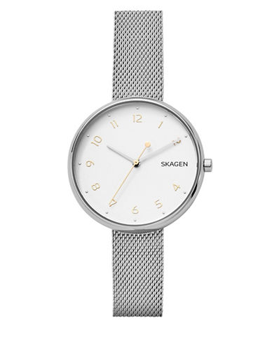 Skagen Analog Stainless Steel Mesh Bracelet Watch-SILVER-One Size