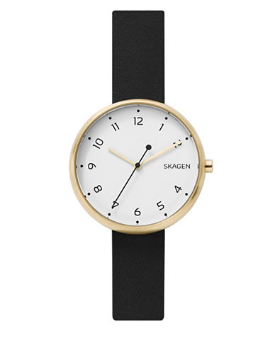 Skagen Analog Goldtone Leather Strap Watch-BLACK-One Size