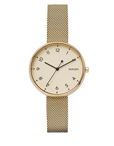 Skagen Analog Goldtone Stainless Steel Mesh Bracelet Watch-GOLD-One Size