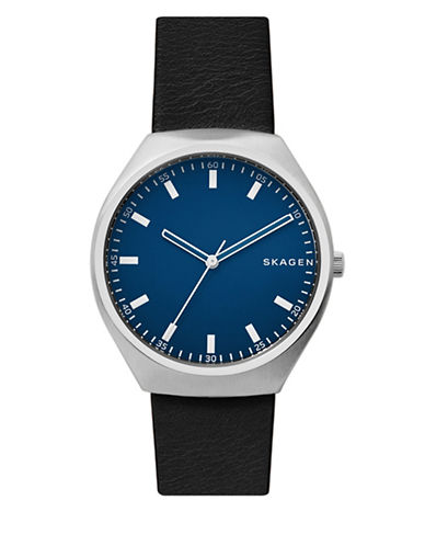 Skagen Analog Grenan Stainless Steel Leather Strap Watch-BLACK-One Size