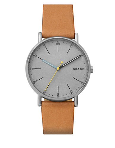 Skagen Signatur Analog Strap Watch-BROWN-One Size