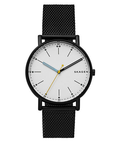 Skagen Analog Signature Dot Black IP Mesh Bracelet Watch-BLACK-One Size