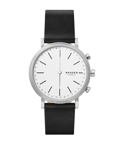 Skagen Hybrid Hald Stainless Steel Leather Strap Smartwatch-BLACK-One Size