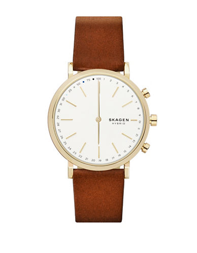 Skagen Hybrid Hald Goldtone Leather Strap Smartwatch-BROWN-One Size