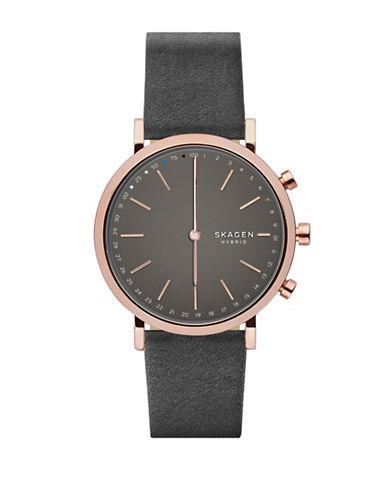 Skagen Hybrid Hald Rose-Goldtone Leather Strap Smartwatch-GREY-One Size