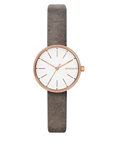 Skagen Signatur Goldtone Stainless Steel Leather Strap Watch-ROSE GOLD-One Size