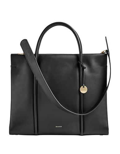Skagen Katryn Recessed Zip Satchel-BLACK-One Size