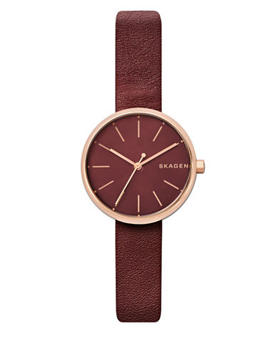 Skagen Chronograph Signatur Goldtone Leather Strap Watch-ROSE GOLD-One Size