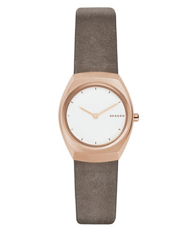 Skagen Asta Goldtone Stainless Steel Leather Strap Watch-ROSE GOLD-One Size