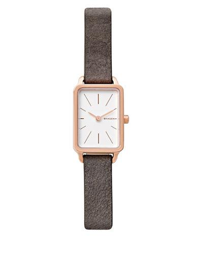 Skagen Analog Hagen Goldtone Leather Strap Watch-ROSE GOLD-One Size