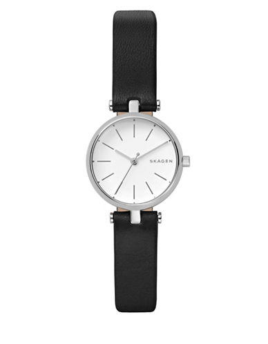 Skagen Analog Signatur Stainless Steel Leather Strap Watch-SILVER-One Size