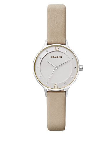 Skagen Anita Leather Strap Watch-SILVER-One Size