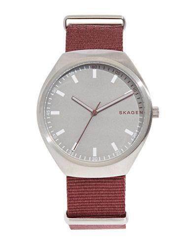 Skagen Analog Grenen Nylon Strap Watch-RED-One Size